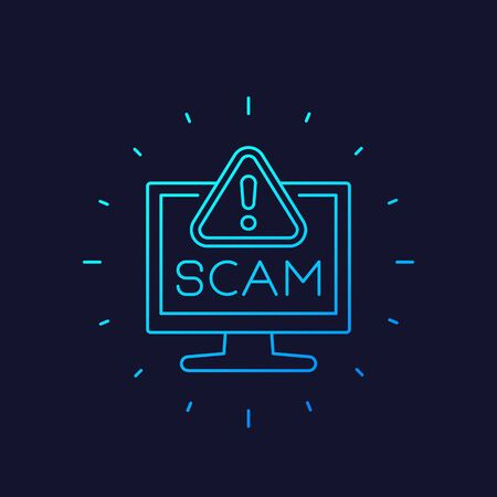 Scam alert icon, linear vector Vectores