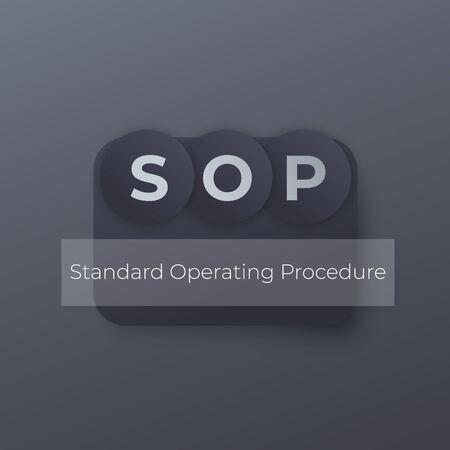 SOP Standard Operating Procedure, vector concept Stock Illustratie