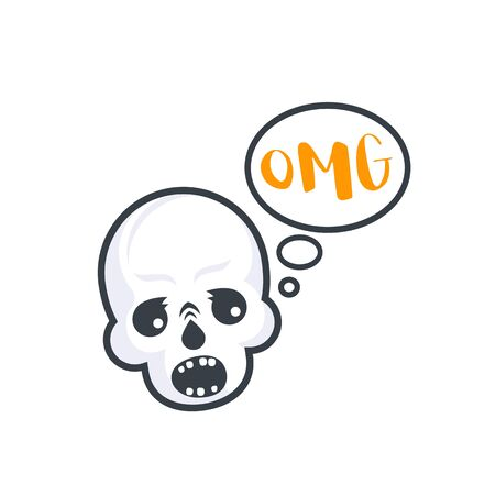 OMG text with skull, vector sticker, print