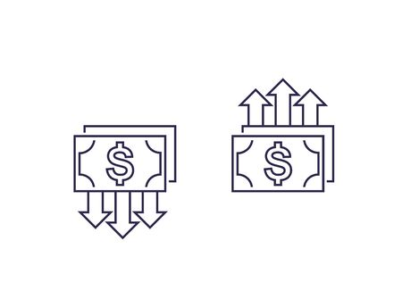 cost reduction and growth, money, vector line icons