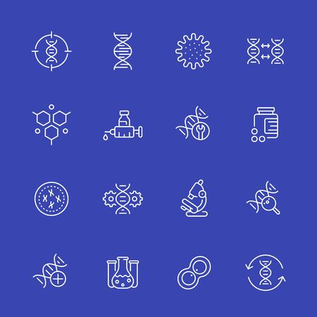 genetics icons, dna, gene editing and genetic research, linear vector set