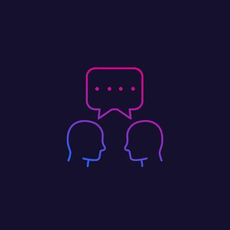 debate, dialogue, vector linear icon