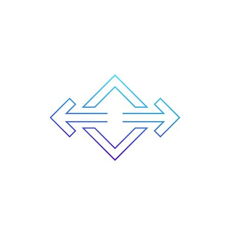 arrows pointed in two directions vector line icon
