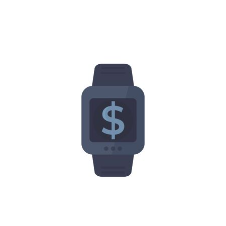 payment with smart watch, vector