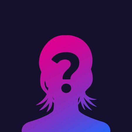 unknown person, female vector Vektoros illusztráció