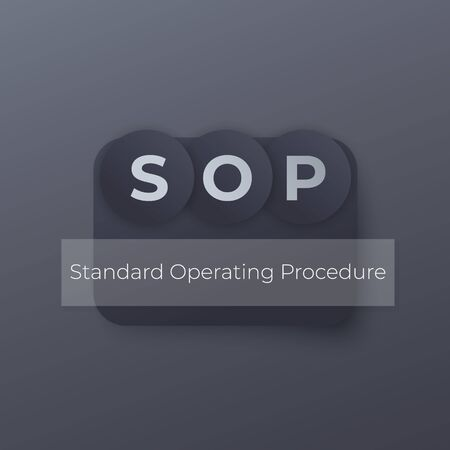 SOP Standard Operating Procedure, vector concept Stock Illustratie