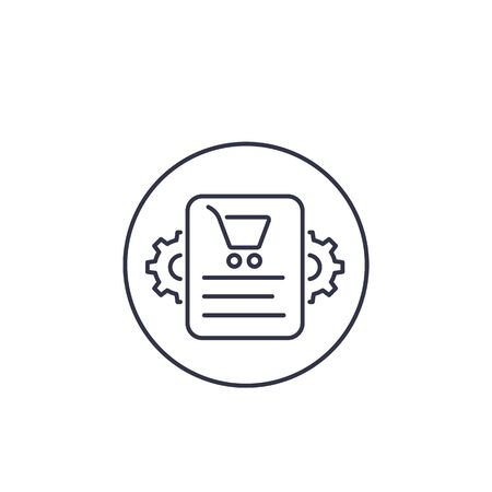 order processing icon, line vector
