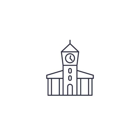 town hall, municipal building line icon