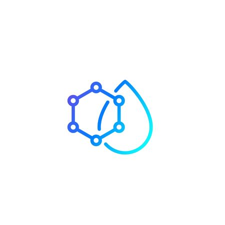 Drop with nanoparticles icon, line