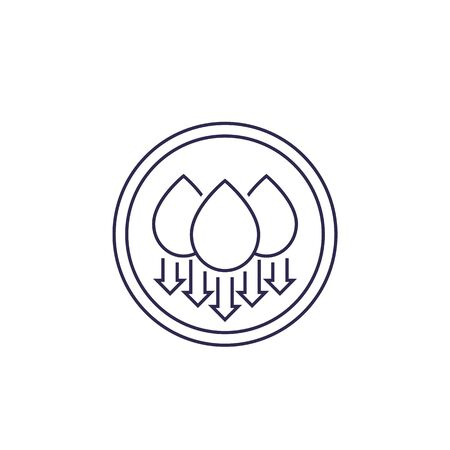 humidity, water level down, vector line icon 向量圖像