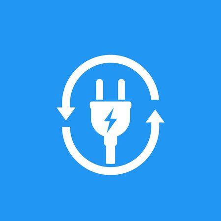electric plug icon with arrows Векторная Иллюстрация