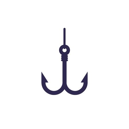 Fishing hook with line, icon on white