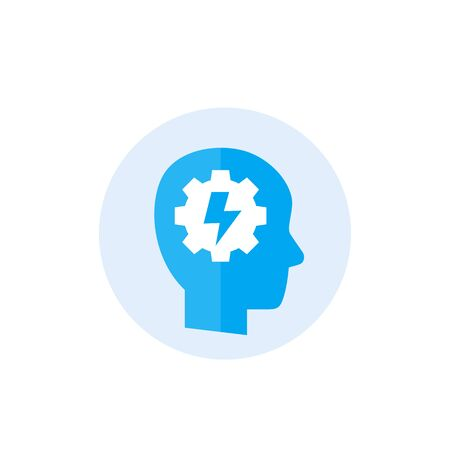 ability icon with human head and gear Illustration