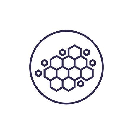 nano materials, nanostructure, vector line icon