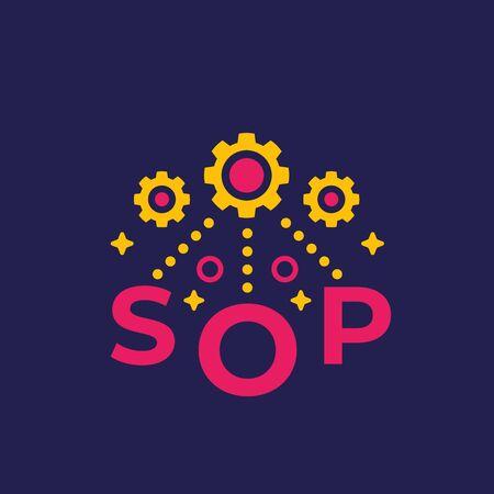 SOP, Standard Operating Procedure vector Stock Illustratie