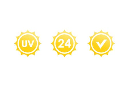 UV, 24 hours sun protection icons Vetores