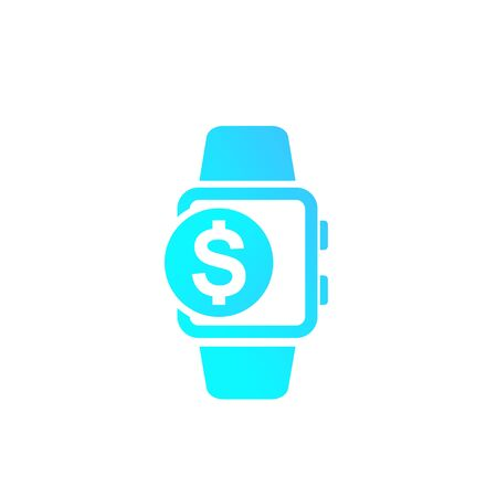 payment with smart watch, vector icon on white