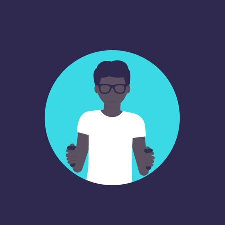 nerd guy playing videogame, character in flat style, vector Vecteurs