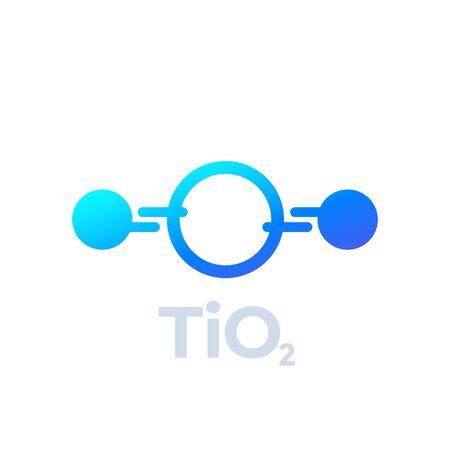 titanium dioxide molecule icon on white, vector