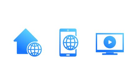 home internet, mobile traffic and smart tv provider icons