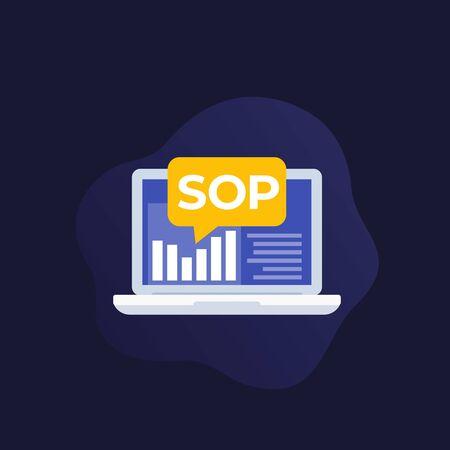 SOP Standard Operating Procedure, vector icon Stock Illustratie