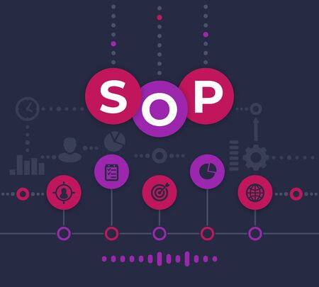 SOP Standard Operating Procedure, vector illustration, dark Stock Illustratie