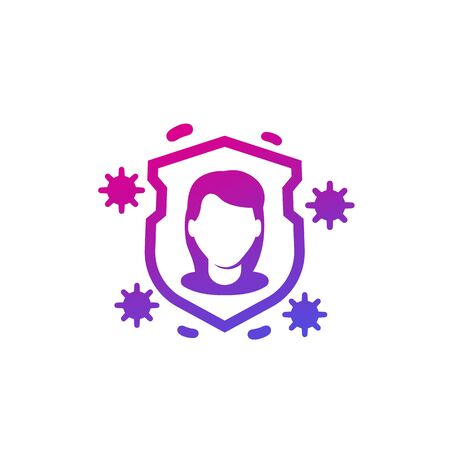 immune system icon on white, vector