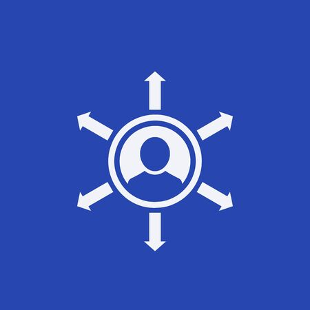 Influence, vector icon on blue