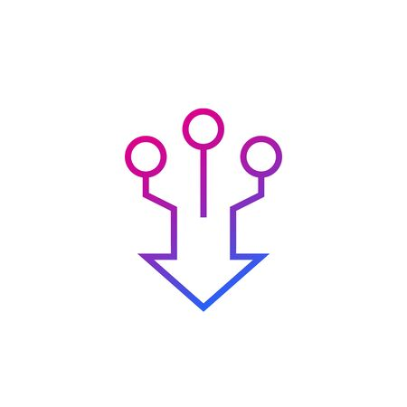 consolidation, merge line vector icon