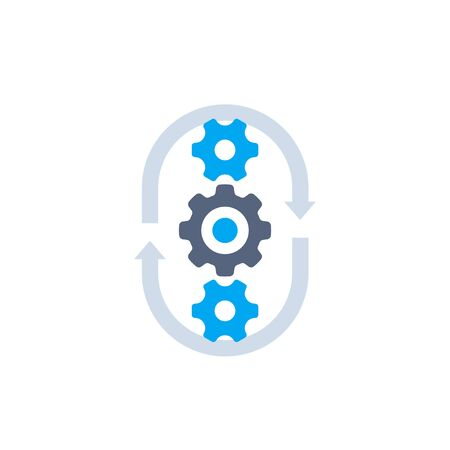 production cycle, process vector icon, cogwheels and arrows