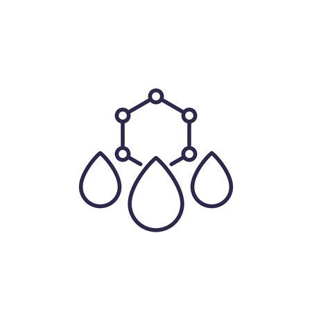 Drops with nano particles, line icon