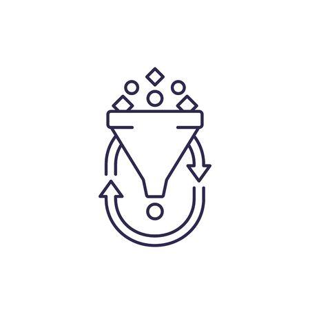 filtering, line icon on white Illustration