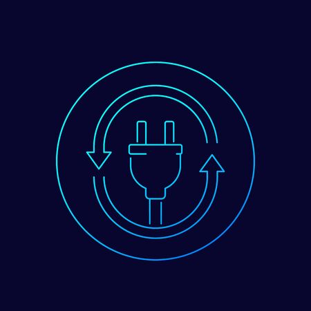 electric plug icon with arrows, linear