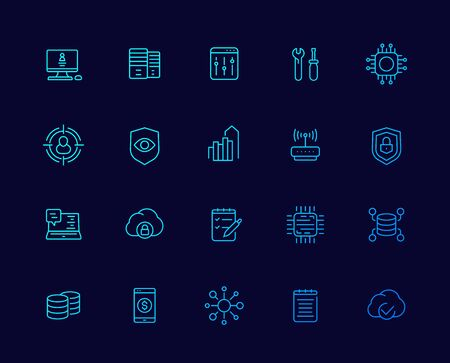 communication, technology and IT icons, linear vector set Иллюстрация