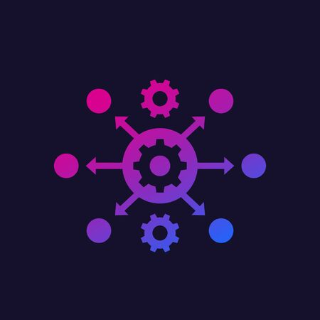 process automation icon with gears, vector