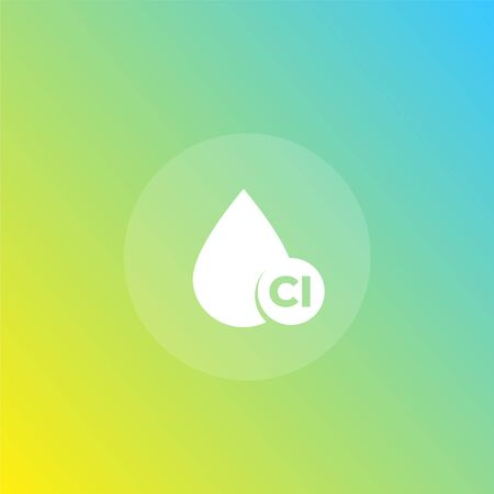 Chlorine drop icon, vector design