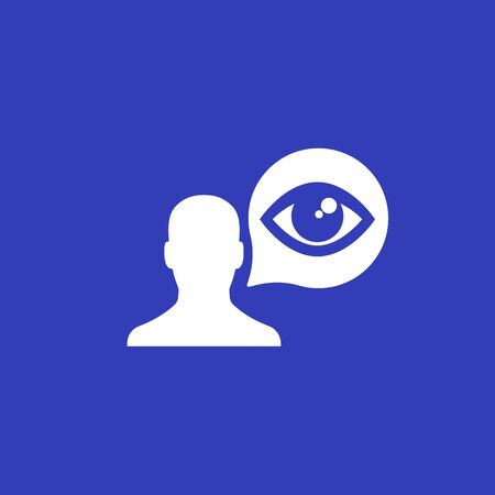 viewer vector icon with man and eye