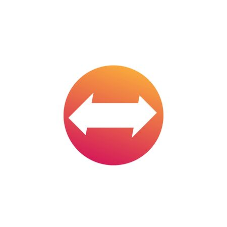arrows pointed in two directions, vector round icon