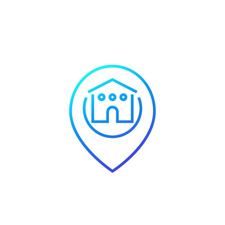 warehouse icon with mark, linear logo