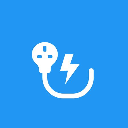 uk electric plug, electricity symbol, vector