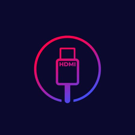 HDMI cable vector icon with gradient Illustration