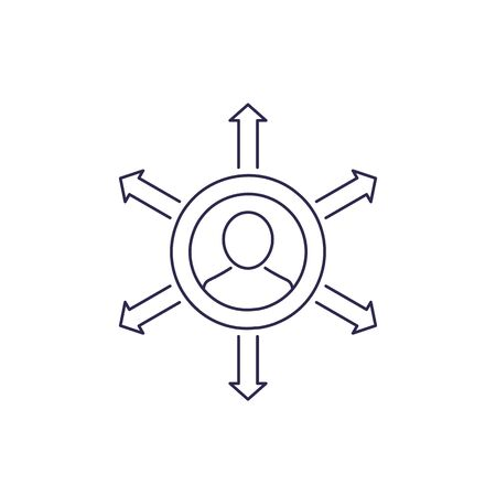 Influence vector line icon on white