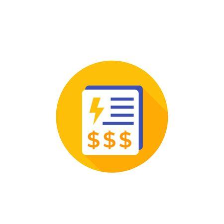 factures de services publics d'électricité, icône de paiements sur blanc Vecteurs