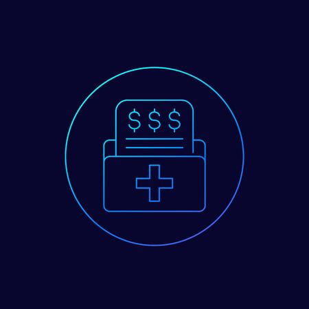 medical bill icon, line vector 写真素材 - 143438999