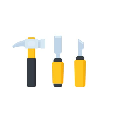 hammer, chisel and cutter, vector icons 일러스트