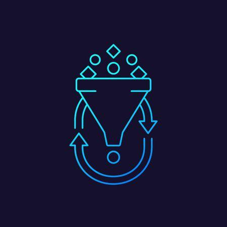 filtering, data analytics line icon