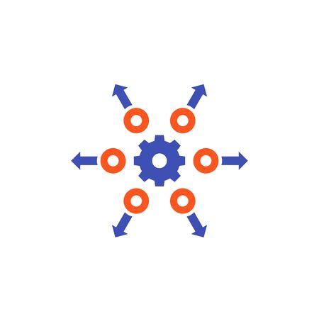 distribution concept icon with gear 向量圖像