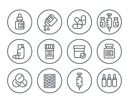 medicaments, drugs, pharmaceutics line icons set