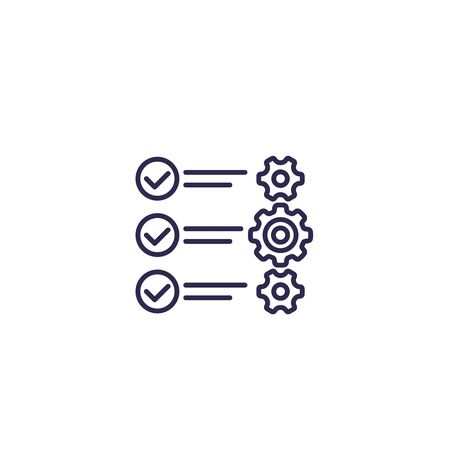 check list with gears, vector line icon