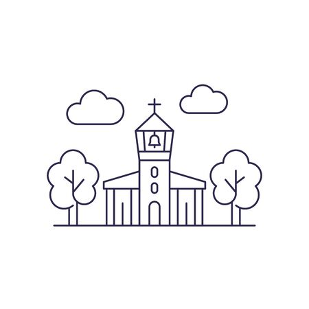 church with belfry, vector line art 矢量图像